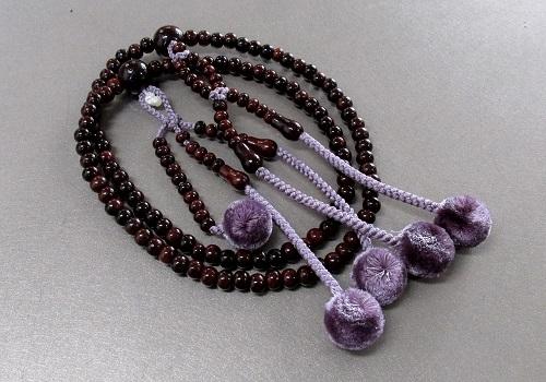 □法華用本連8寸 縞紫檀共仕立 菊梵天 日蓮宗108珠