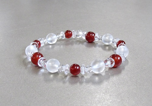 ☆天然石ブレス 赤瑪瑙・霧水晶・水晶