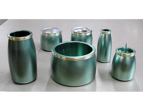 ■アルミムク仏具6具足セット グリーン 3.0寸