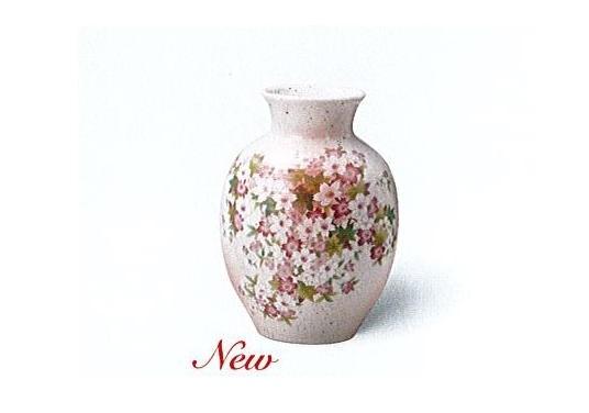 ◇美濃焼花瓶 志野新8号桜もみじ花瓶