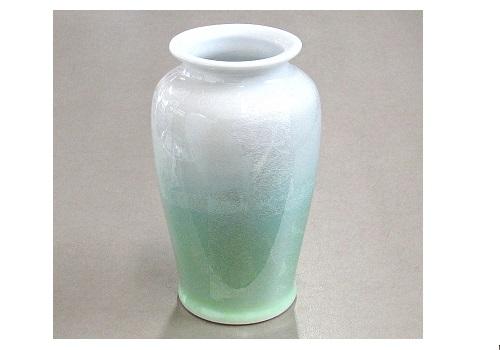 ★九谷焼花瓶 九谷銀彩6号カメ型 ライトグリーン