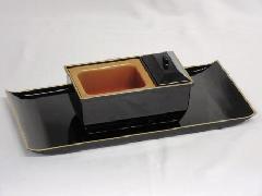 ◇焼香盆セット やすらぎ 黒(フチ金) 小