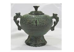 ★高級伝統美術 香炉 丸型 青銅色