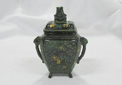 ★高級伝統美術 香炉 角型 青銅色
