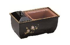 ◇やすらぎ香炉5.0寸 黒フチ金 黒蒔絵 鉄仙 焼香台