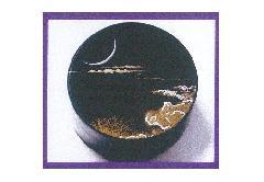 ★香合 木粉樹脂製 加賀高蒔絵香合 月に波
