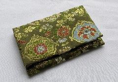 ☆念珠袋 新錦オリエント花柄 深緑