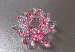 ◆クリスタル置物 愛の花 ピンク