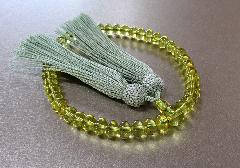 ◆女性用片手念珠 グリーン琥珀ミカン玉共仕立 正絹細房 桐箱入