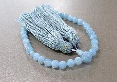 ◆女性用片手念珠 アクアマリン8�o玉共仕立 正絹頭房 桐箱入