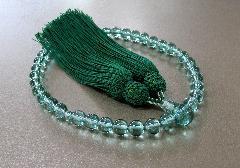 ○女性用片手念珠 グリーンコーツ 共仕立 正絹細房 桐箱入