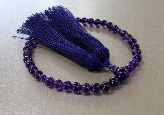 ■女性用片手念珠 紫水晶共仕立(AAランク) 正絹細房 桐箱入