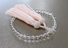 □女性用片手念珠 水晶紅水晶仕立 正絹頭房