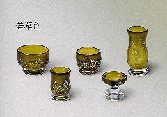 ★手作りガラス佛具5点セット かれん 若草色