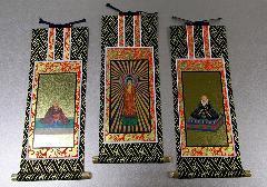 ■仏壇用掛軸 オリジナル 浄土真宗本願寺派(西)絵 三幅 25×11.5�p ※在庫処分特価品