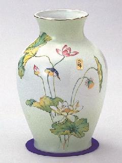 ★美濃焼花瓶 8号グリーン吹ハス花瓶