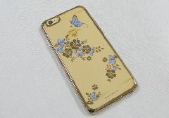 □スマホカバー スワロフスキーエレメント 蝶 ブルー