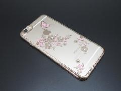 □スマホカバー スワロフスキーエレメント 蝶 ピンク