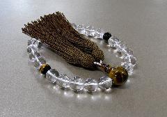 ●男性用片手念珠 水晶22玉虎目仕立 正絹頭房