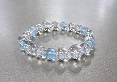 ●ブレス 水晶・クラック水晶(ブルー)