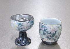 ●風舞花(ふぶか) 仏器・湯呑セット 有田焼 色唐草