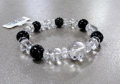 □天然石ブレス 水晶15�o・青虎目12�o・カット水晶