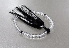 ■女性用片手念珠 水晶黒オニキス仕立 正絹二色房 桐箱