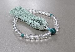 ○女性用片手念珠 水晶8�o玉孔雀石仕立 正絹細房