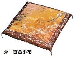 ★友禅圧縮座布団 茶 百合小花