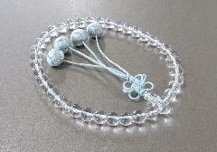 ●女性用片手念珠 水晶共仕立 利休花梵天 桐箱入