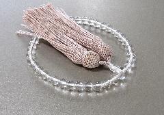 □女性用片手念珠 水晶共仕立 正絹頭房