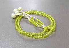 ●振分8寸念珠・数珠 花水晶共仕立 かがり梵天 本連108珠 黄 ※在庫処分特価品