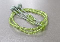■振分8寸念珠・数珠 花水晶共仕立 かがり梵天 本連108珠 緑 ※在庫処分特価品