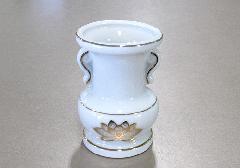 ◇花瓶・花立 大玉仏花 3.0寸 白上金ハス×1ケース(20ヶ入)