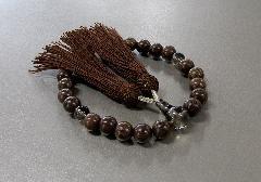 ◆男性用片手念珠 鉄刀木23玉茶水晶仕立 人絹頭房