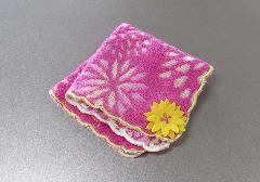 ■花柄ジャガードハンカチ 花一輪 ピンク ※在庫処分特価品