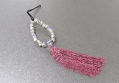 ○お守り数珠ストラップ 星月菩提樹正絹房 灰桜