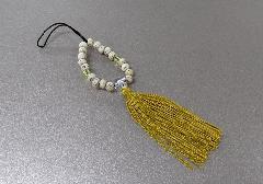 ○お守り数珠ストラップ 星月菩提樹正絹房 金茶 ※在庫処分特価品