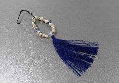 □お守り数珠ストラップ 星月菩提樹正絹房 ブルー ※在庫処分特価品