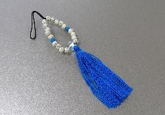 □お守り数珠ストラップ 星月菩提樹正絹房 トルコ