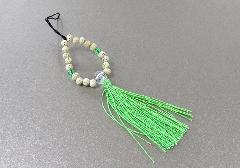 ★お守り数珠ストラップ 星月菩提樹正絹房 若草