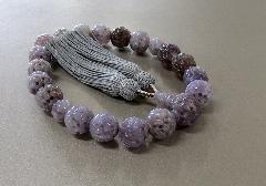 ●男性用片手念珠 紫瑪瑙 彫刻 18玉共仕立 正絹頭房 桐箱入