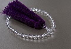 ◆女性用片手念珠 水晶共仕立 正絹細房