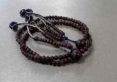 ●法華用本連尺2 紫檀素挽 共仕立 かがり梵天 日蓮宗108珠 青