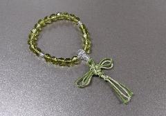 □子供用念珠 ガラスカットPC水晶仕立 緑