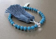 ◆女性用片手念珠 トルコ石 水晶仕立 共仕立 正絹頭房 桐箱入
