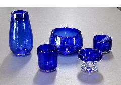 ●オリジナルガラス仏具 5具足 コバルト