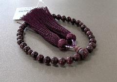 ●女性用片手念珠 パープルハート共仕立 正絹頭房 桐箱入