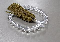 ●男性用片手念珠 水晶22玉共仕立 正絹頭房 からし