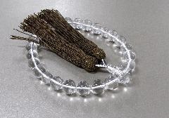 ■男性用片手念珠 水晶22玉共仕立 正絹頭房 焦茶